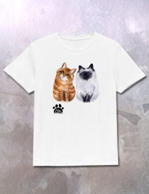 T-shirt z rudym i białym kotem