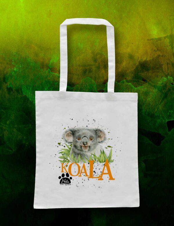 Torba ekologiczna bawełniana - Koala w trawie